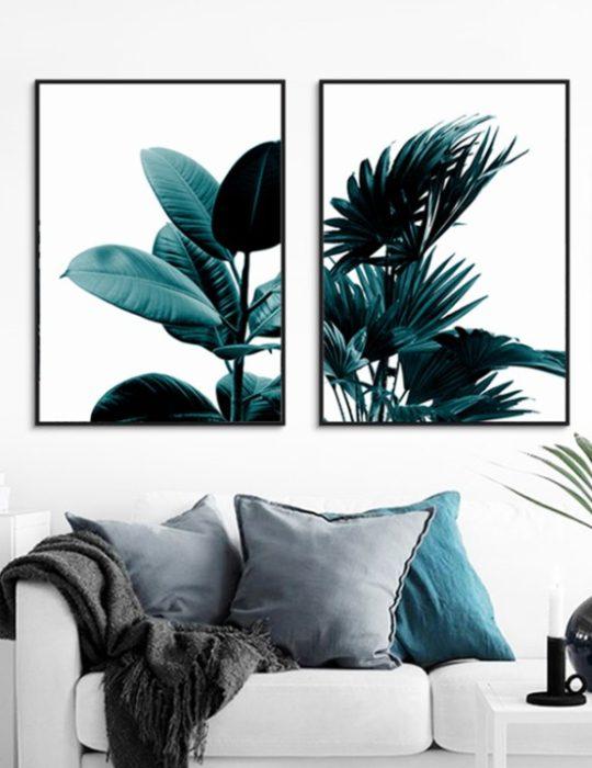 Poster - Planten bladeren op canvas
