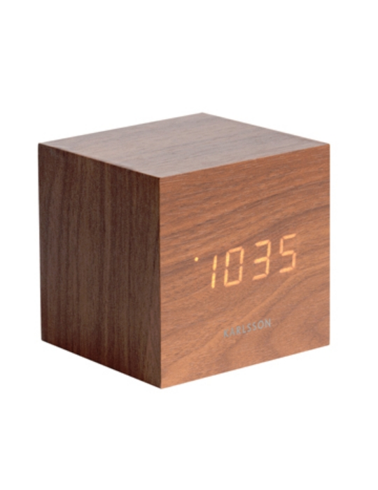 Karlsson Alarm Clock Mini Cube Wood Veneer