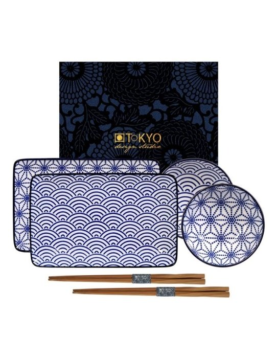 nippon blue sushi set wave star